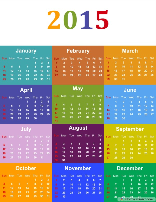 Colorful Calendar For Year 2015