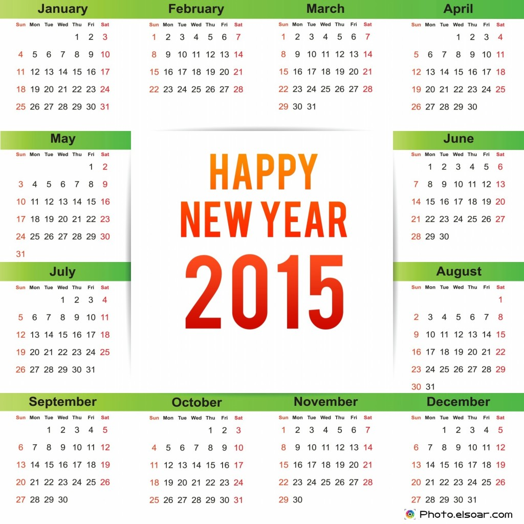 Happy New Year 2015 Calendar