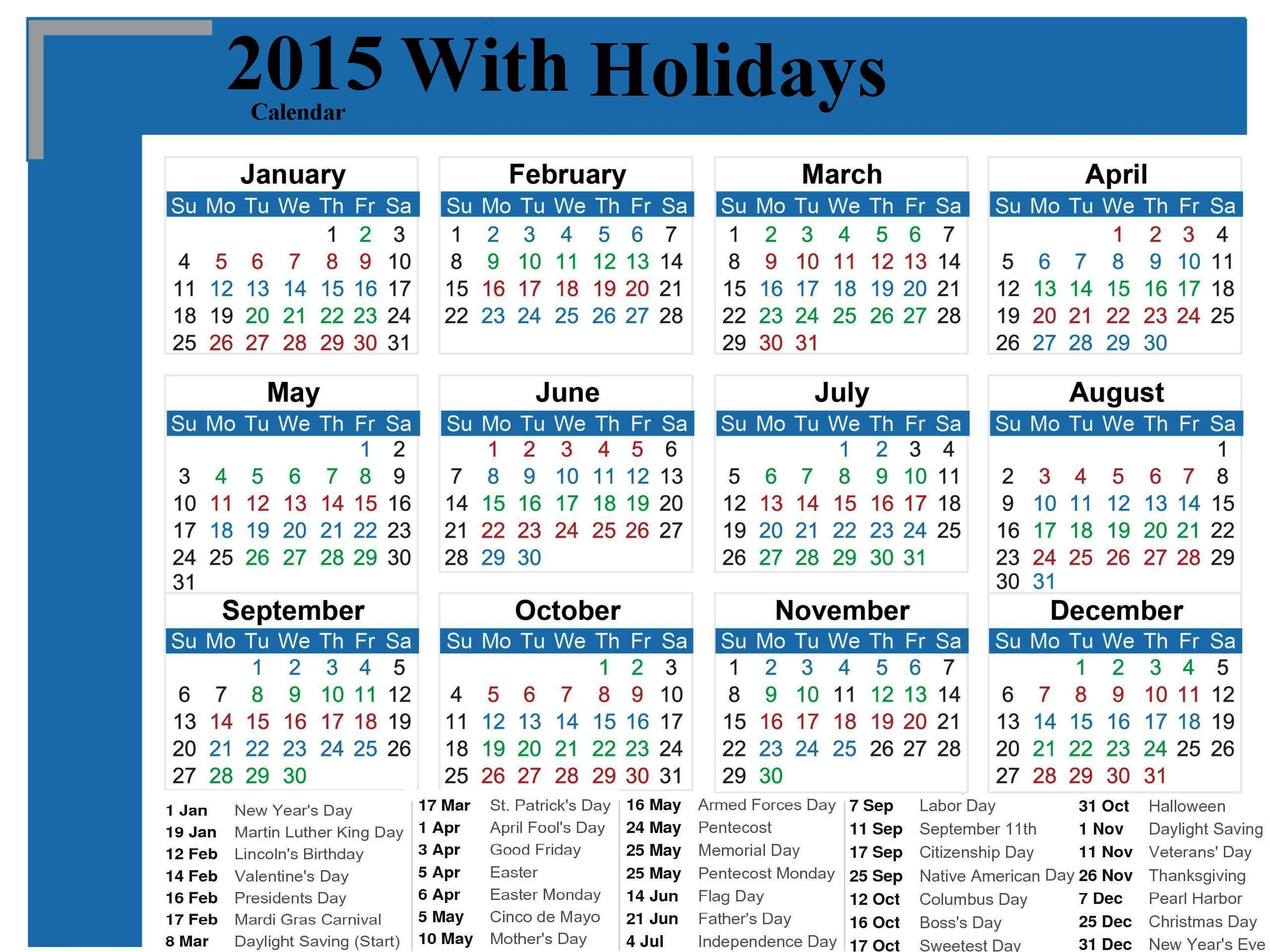 Calendar With Holidays 2015