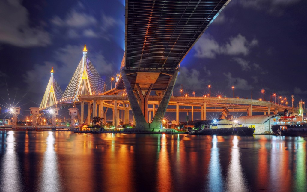 Bhumibol Bridge Bangkok Thailand Wallpaper