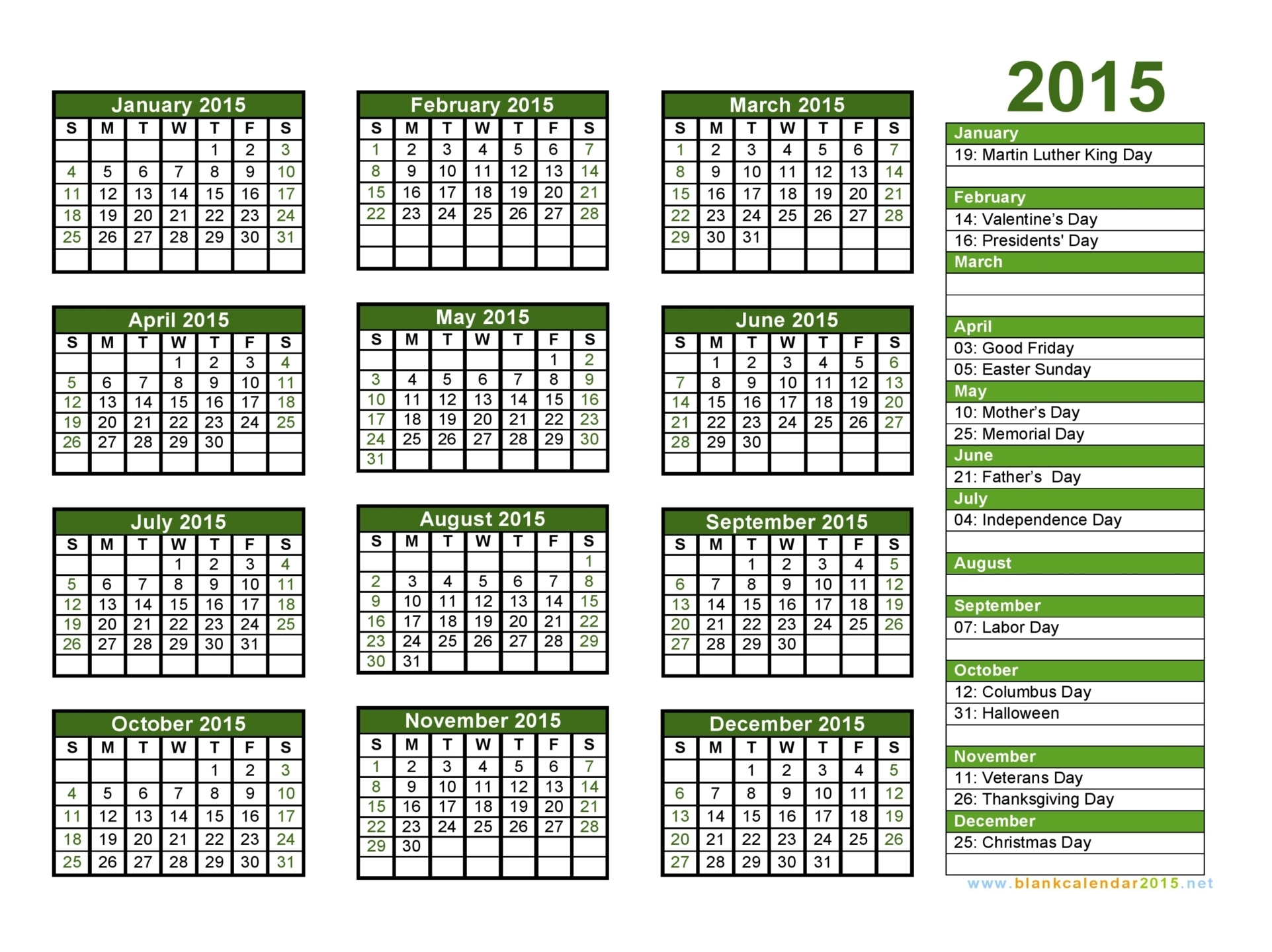 Blank Calendar With Holidays : Calendar with holidays pictures images