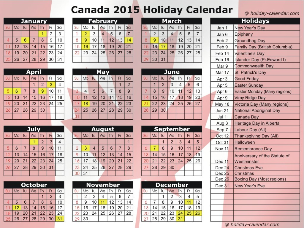 Christmas Calendar 2015 : Calendar with holidays pictures images