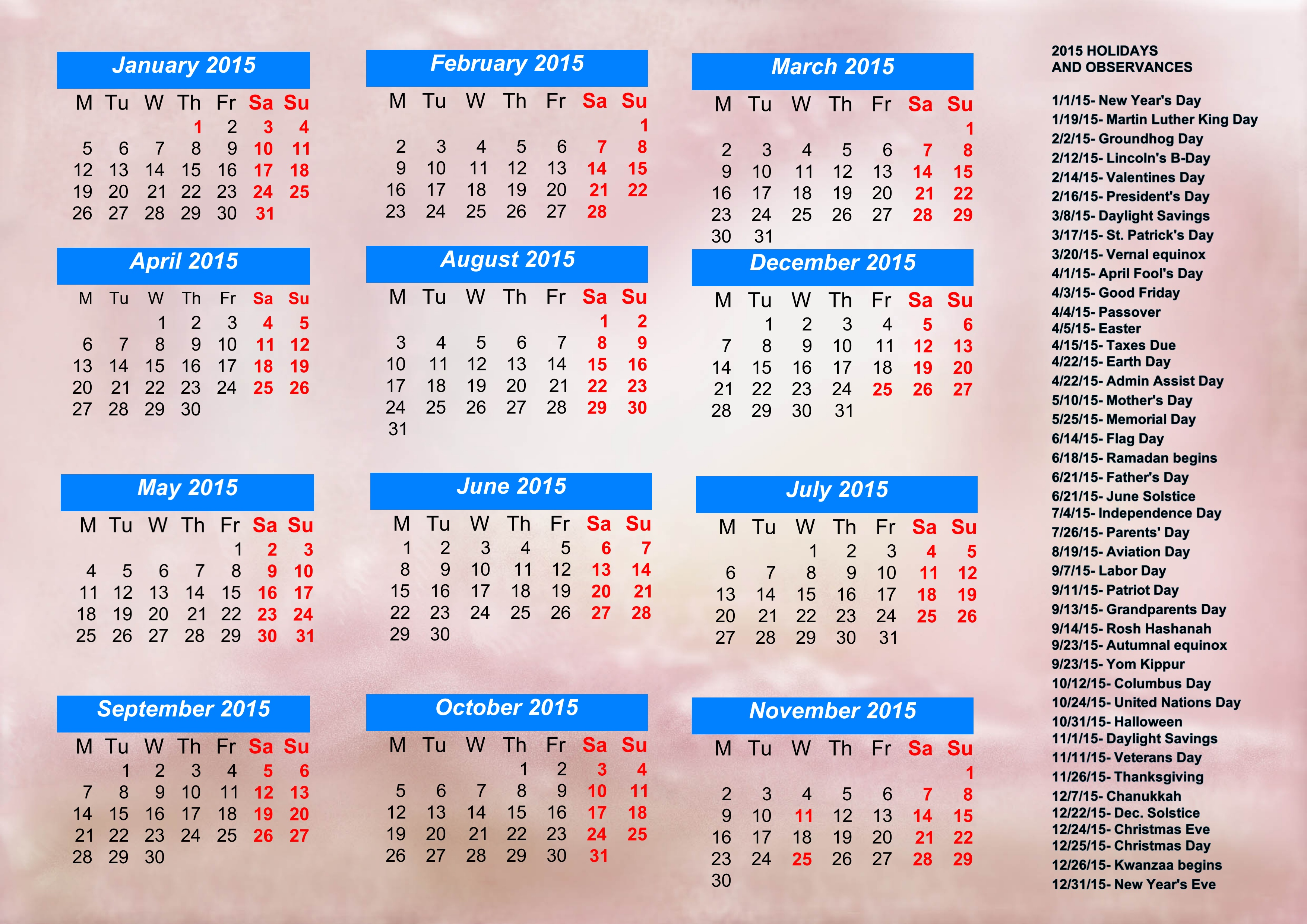 Calendar With Holidays 2015, Pictures, Images