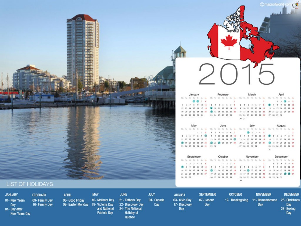 Calendar with Holidays 2015 (sorted by country)