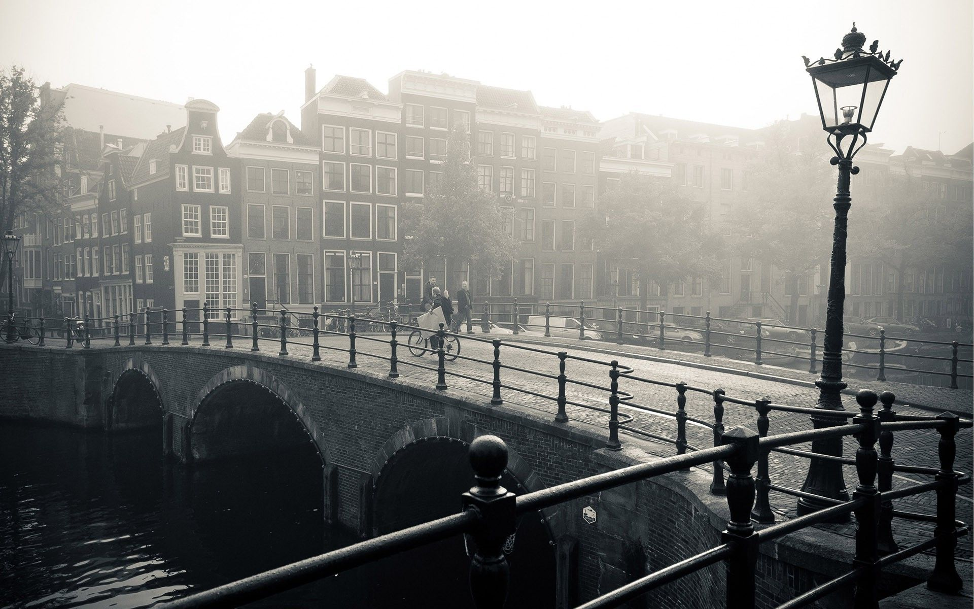 Foggy Bridge In Amsterdam World Hd Wallpaper 1920x1200