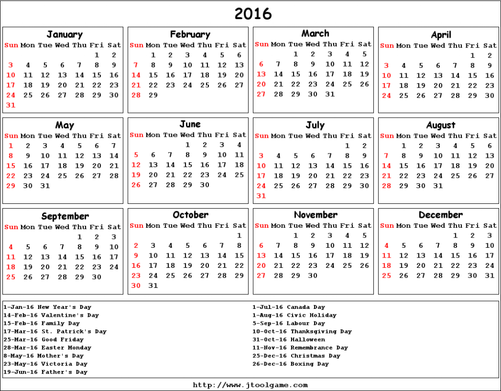 Calendar With Holidays 2016 1048x819
