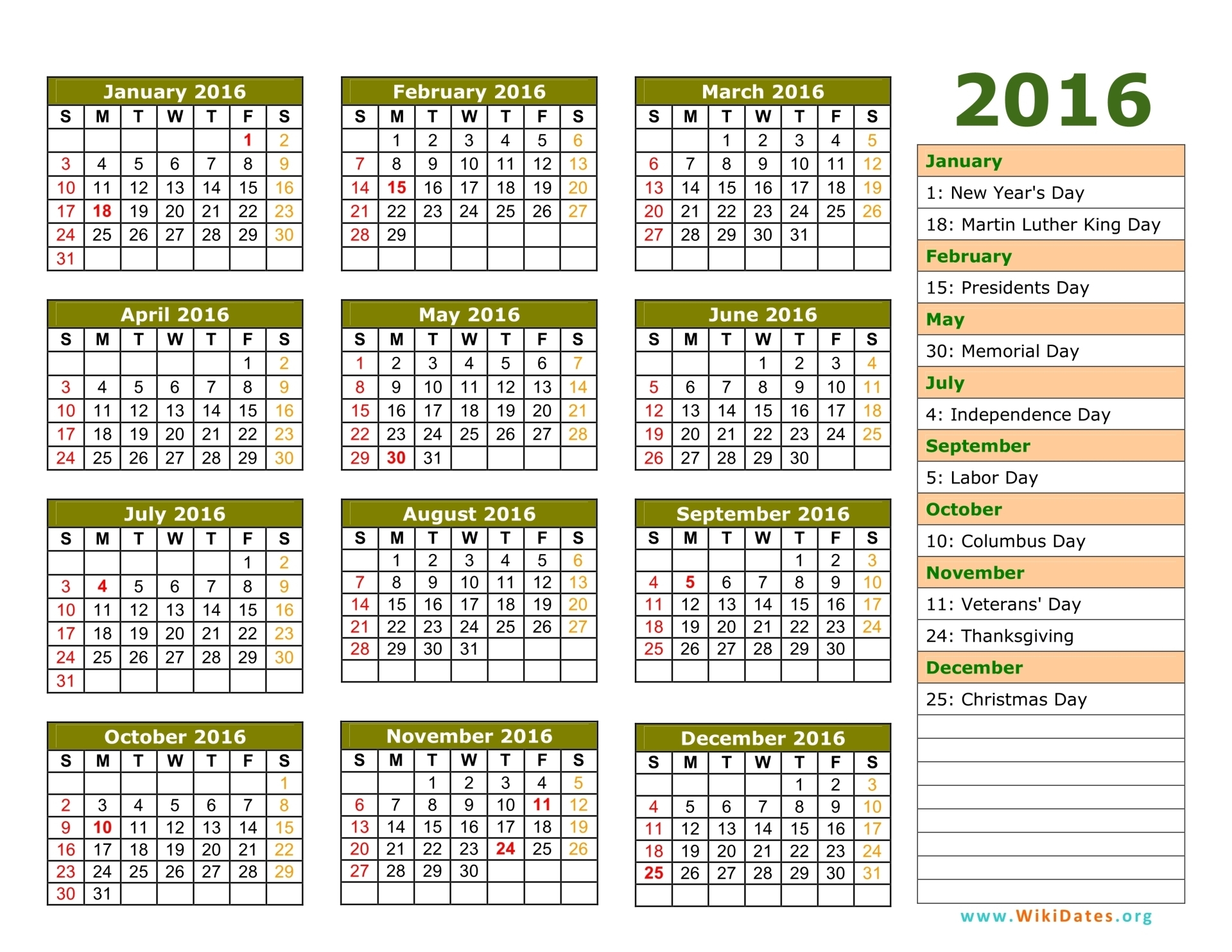 calendar with holidays 2016 1919x1483 - Holiday Pictures To Download