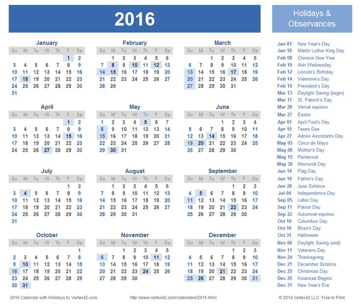 Calendar With Holidays 2016 736x619