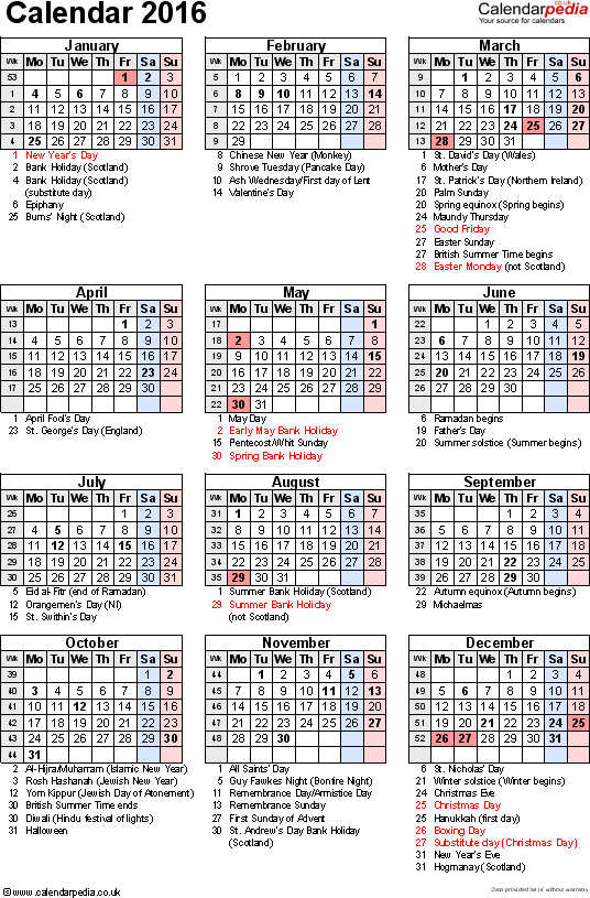 Calendar With Holidays 2016 536x815