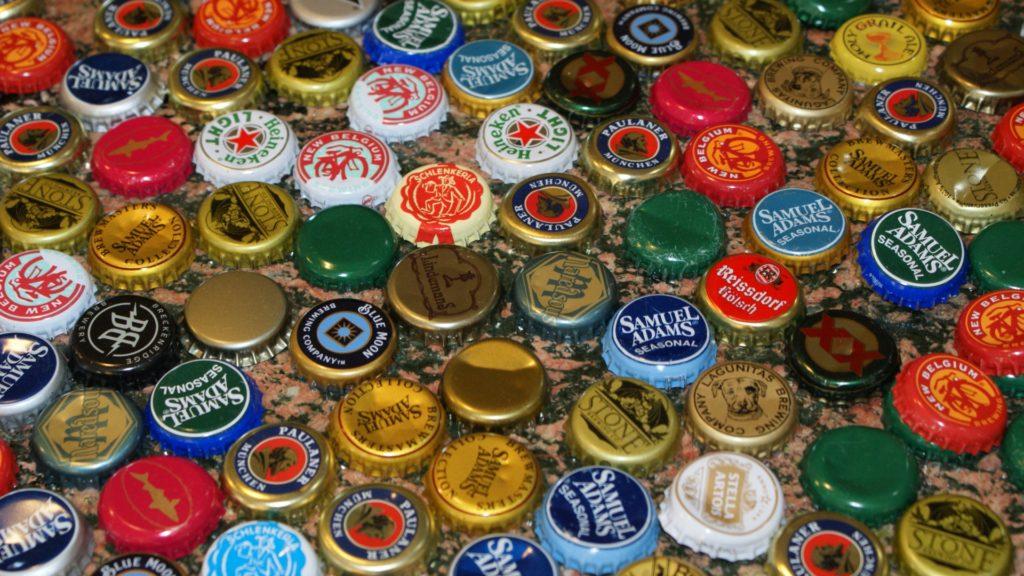 Beer Bottle Caps Full HD Background