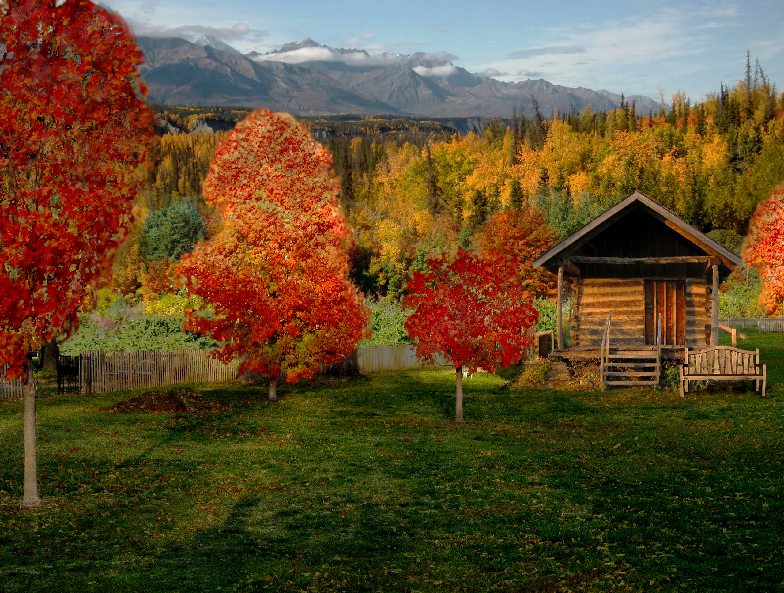 autumn cabin wallpaper desktop - photo #11