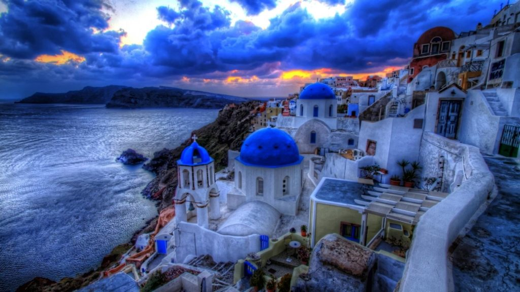 Santorini Full HD Wallpaper