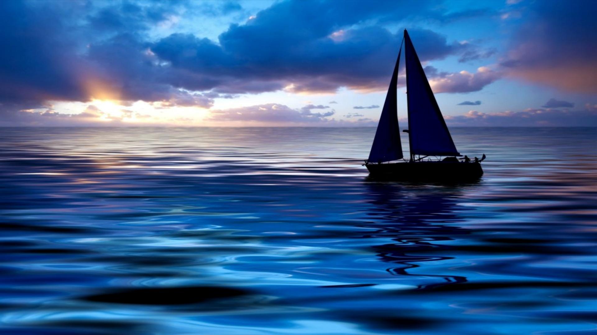 корабль парус море закат смотреть
