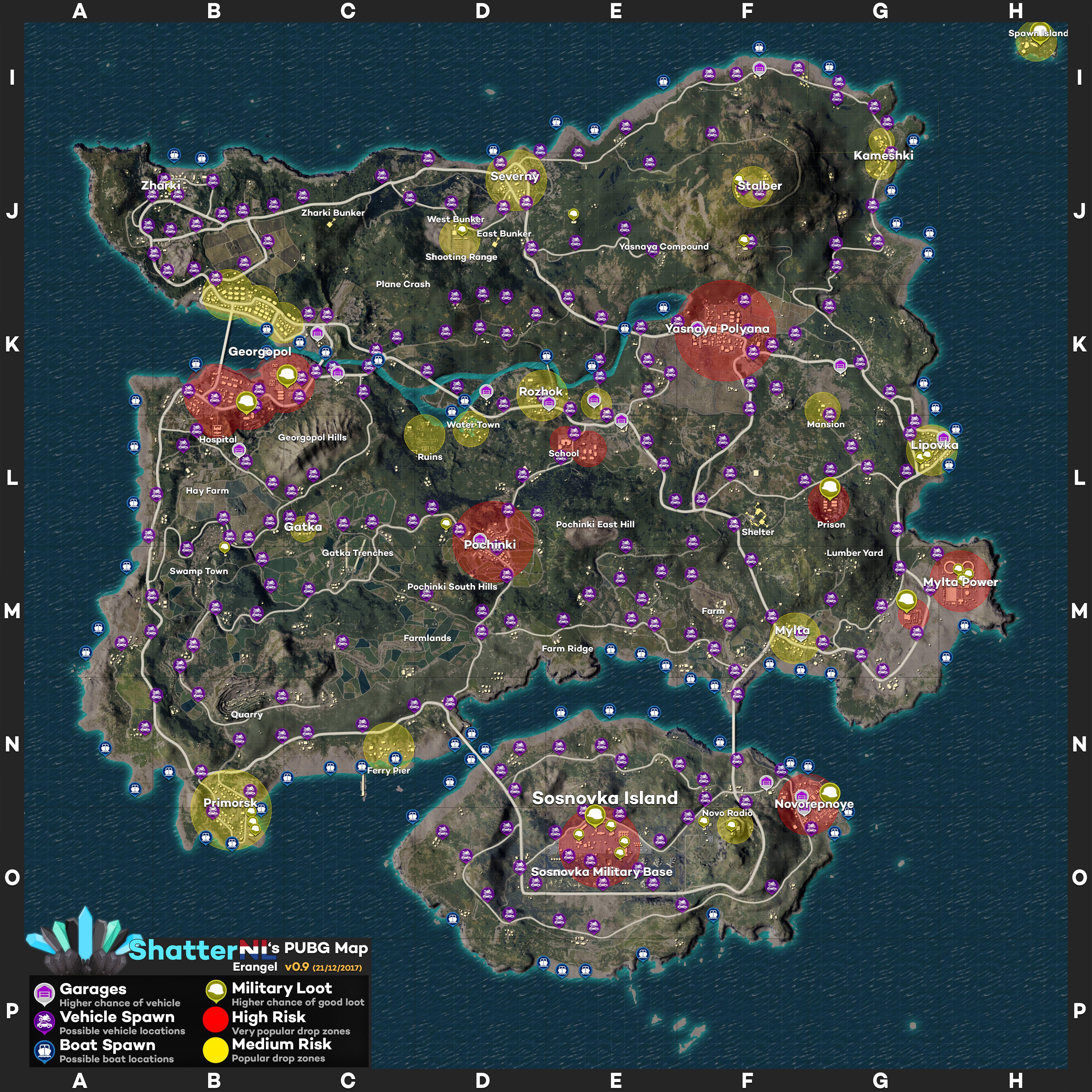 PLAYERUNKNOWNu0027S BATTLEGROUNDS Erangel Loot Map
